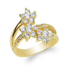 10K Yellow Gold Beautiful Flowers Shaped Band Ring with Round CZ Size 4-10