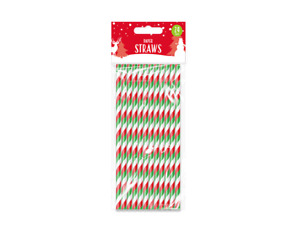 24x CHRISTMAS PAPER STRAWS - Retro/Vintage/Drink/BBQ/Party Biodegradable Straw