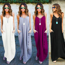 Women Maxi Long Dress Strappy Boho Hippie Summer Beach Holiday Baggy Dress UK 20