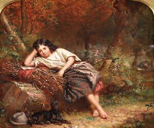 JONATHAN PRATT (1835-1911) SIGNED ENGLISH OIL ON PANEL - YOUNG GIRL & DOG 1867