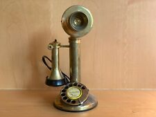 Vintage GEC Candlestick Heavy Brass Telephone Modern Wired NOS Reproduction
