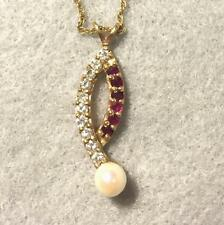 Diamond,Ruby and Pearl Pendant and Chain ~14K ~ Estate Jewelry