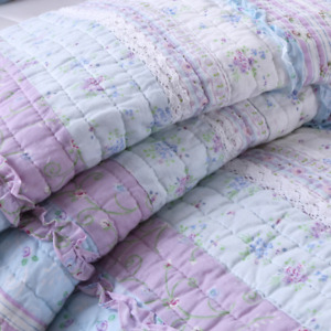 COTTAGE COUNTRY SHABBY PINK PURPLE LACE LAVENDER LILAC BLUE RUFFLE QUILT SET