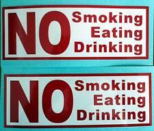 No Fumar comer, beber signos, Rojo X 2 taxi o coches de empresa de pegatinas de vinilo