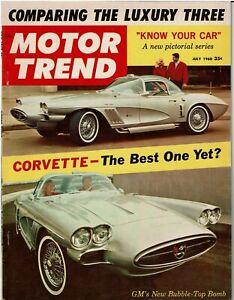 MOTOR TREND July 1960 Chevrolet Corvette XP-700 Mercedes 300SL Bonneville racing