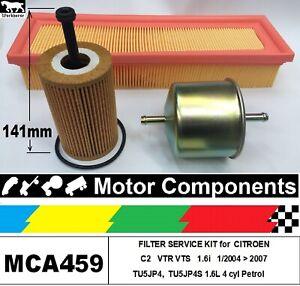 FILTER KIT for CITROEN C2 VTR 1.6i TU5JP4, VTS TU5JP4S 1.6L Petrol 1/04>2007