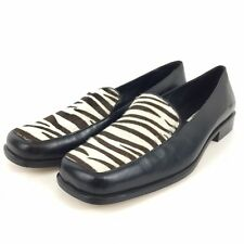 Talbots Bridget Womens Size 8.5 Black Leather Loafer Shoes w zebra pattern Top