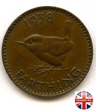A 1938 British Bronze GEORGE VI FARTHING ¼d coin