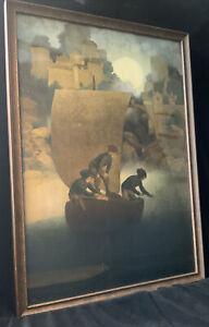 """Maxfield Parrish """"Wynken, Blynken, And Nod"""" Original Print, Frame & Glass, 1905"""