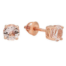 0.45 CT 10K Rose Gold Round Cut Morganite Ladies Solitaire Stud Earrings