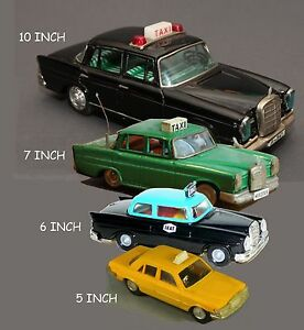 Vintage Tin Friction Car Mercedes Taxi... (4 Car Collection)