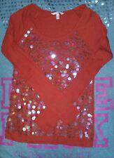 Victoria's Secret S Red Circle Sequin Bling Baseball Raglan LongSleeve Top Shirt