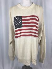 Vintage Mens White Flag Sweater Oversized Size Small