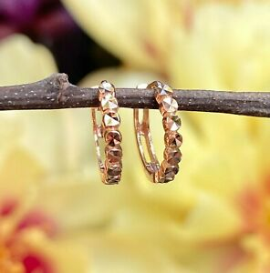 14KT Rose Gold & Diamond Cut Beaded Huggie Mini Hoop Earrings Snap NEW