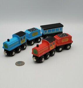 Melissa Doug Wooden Red & Blue Express Train Engine + Car Works w Thomas Railway