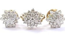 Fine Round Cut Diamond Circular Cluster Earrings & Ring Set 2.00Ct 14KT