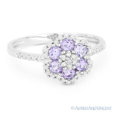 Pave 14k White Gold Right-Hand Flower Ring 0.53 ct Round Cut Amethyst & Diamond
