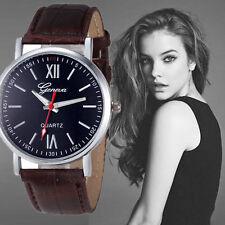 Ladies Fashion Geneva Silver Quartz Black Face Brown Band Wrist Watch.