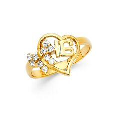 Solid 14k Yellow Gold Sweet 16 Birthday Ring Heart CZ Cluster Band Style Design