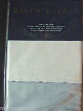 Nip $145 Ralph Lauren Euro Pillow Sham White/Sapphire Blue Langdon Cotton 624Tc