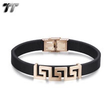 TT Brown Leather 316L S.Steel Rose Gold Hollow Greek Key Wristband BR265 NEW