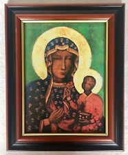 BLACK MADONNA / OUR LADY OF CZESTOCHOWA ICON - Wood Framed Picture / Print