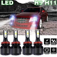 H11 H9 Low High Beam Super White LED Combo Headlight Camaro Malibu Hybrid Impala