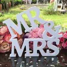 Blanc Mr et Mrs Lettres panneau en bois haut de table Décorations de mariage UD
