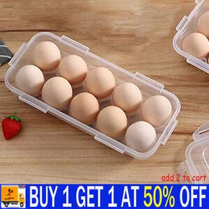 10 Egg Holder Boxes Tray Storage Box Eggs Refrigerator Container Plastic Case UK