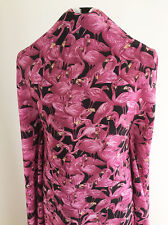 Printed Pink Flamingos on Polyester Crepe de Chine Dressmaking  Fabric