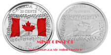 Brilliant Uncirculated 2015 Canada Flag Color /& Plain 25 Cents Plus New Folder