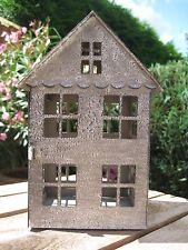 """Shabby Deko Laterne Haus """"Scandic"""" grau gewischt Metall Landhaus Vintage Advent"""