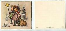 VINTAGE CHRISTMAS PRETTY ANGELS CHILDREN STAR TREES SNOW PRESENTS GREETING CARD