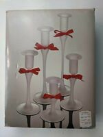 Vintage Five Graduated Hand Blown Candle Sticks White Clear Glass Ribbons