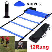 Speed Agility Train Kit, Flat Ladder + 10pcs Disc Cones Speed Training 12 Rung