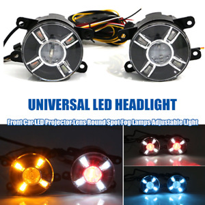 1Pair Car Front LED Projector Lens Round Spot Fog Lamps Adjustable Light 4-Color
