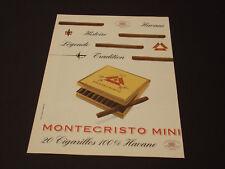 Montecristo Années 1985's - 1990's  Advertising Vintage AD Pub Paper 1980 - 1990