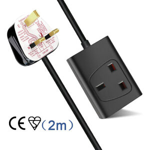 1 Way Gang Single Socket Power Mains Extension Lead Cable 2M Metre 13A Black