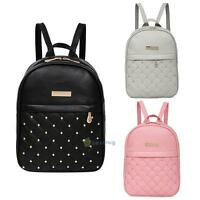 SN9F Fashion Women PU Leather Backpack Casual Bead Travel School Backpack
