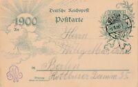 Postkarte Jahr 1900 neues Jahrhundert gestempelt 1.1.00 Berlin Rarität