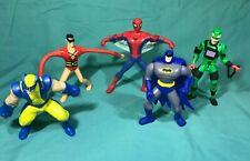Marvel DC Lot Of 5 Action Figures Spider-Man, Bat-Man, Wolverine