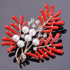 Wedding Party Bridal Red Coral Crystal Pearl Brooches Bouquet Pin Jewelry Acces
