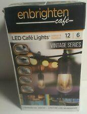 12 ft. Cafe String Lights Vintage Integrated LED Commercial Grade, 6-Bulbs Black
