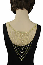Hot Women Long Open Back Necklace Gold Metal Fashion Jewelry Wedding Silver Drop