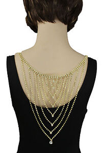 Hot Women Long Open Back Necklace Gold Metal Fashion Jewelry Wedding Silver Drop