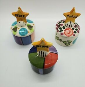 Set of 3 Csara 2003 Handpainted Believe, Imagine, Peace Trinket Dishes With Lids