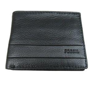 Fossil Lufkin Traveler Leather Mens Black Wallet NEW SML1390001