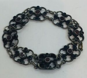 Antique Austrian Victorian Sterling Silver Garnet & Sapphire Bracelet