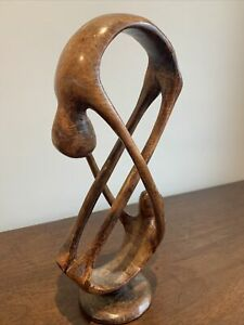 ABSTRACT ACROBAT LOVERS WOODEN CARVED SCULPTURE