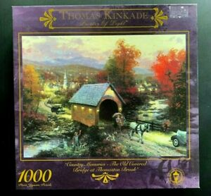 Thomas Kinkade Country Memories The Old Covered Bridge Of Thomaston Brook Puzzle